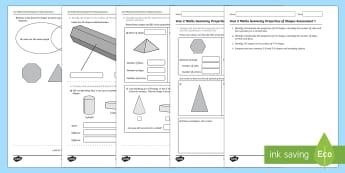 Year 2 Maths Geometry Properties of Shapes Assessment 1 Assessment ...