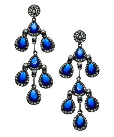 Vivian Jacob Sapphire CZ Chandelier Earrings #maxandchloe