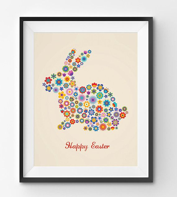 Happy Easter Floral Bunny in Beige Background Art Print Happy