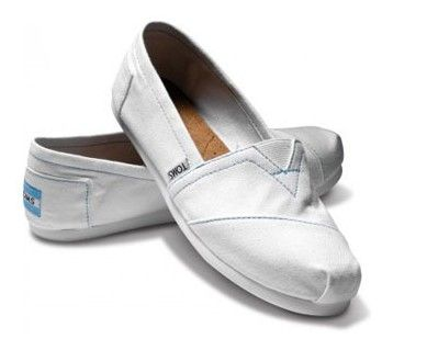 White Toms Canvas Flat Shoes