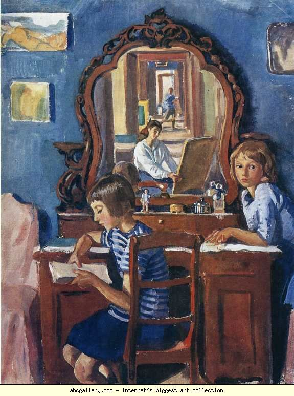 """Zinaida Serebriakova """"Tata and Katya"""" 1917 , tempera , 58 x 45.3 cm , Private collection . Ekaterina (Katya) rejoined her mother after 4 years in 1928 , but the older daughter, Tatiana (Tata) was allowed to visit her mother in 1960, after 36 years of forced separation ; at this time, Tatiana was also working as an artist, painting scenery for the Moscow Art Theatre."""