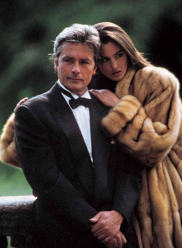 Fur and Fashion: Eternally beautiful Monica Bellucci with Alain Delon for Annabella Furs, 20 years ago