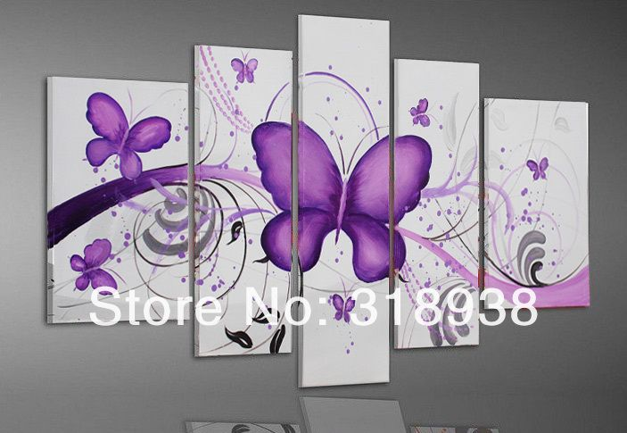 handpainted 5 piece white modern abstract oil paintings on canvas butterfly wall art pictures for living room as unique gift