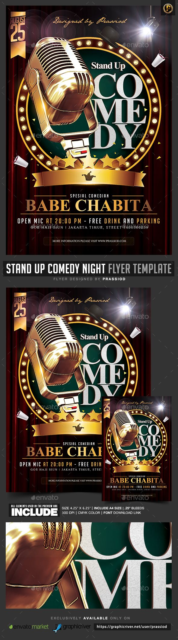 Stand Up Comedy Night Flyer Template  -  PSD Template • Only available here! →…