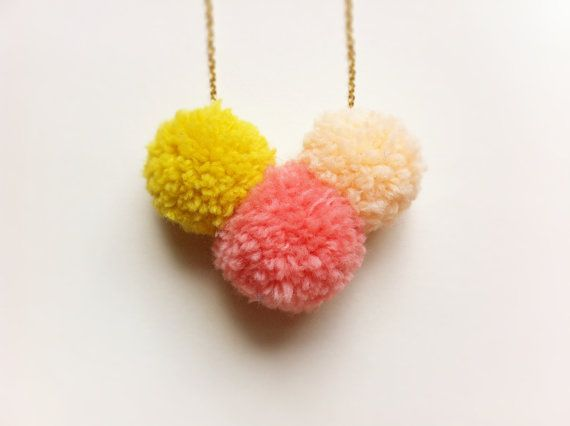 Neon Pom Pom Trio Necklace - bright colorblock pompoms in mustard yellow, pink and peach - Spring Fashion.   FableAndLore, via Etsy.