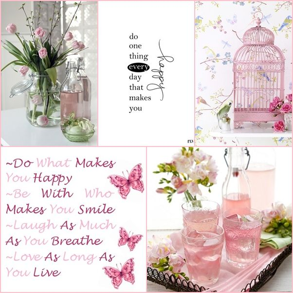 Pink, do one thing every day that makes you happy... mood/color collage