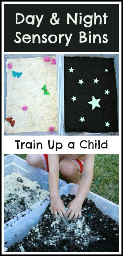 Sensory Bins to Teach Night and Day - A simple set up to teach little ones about day and night with a link to a unit study of the sun.