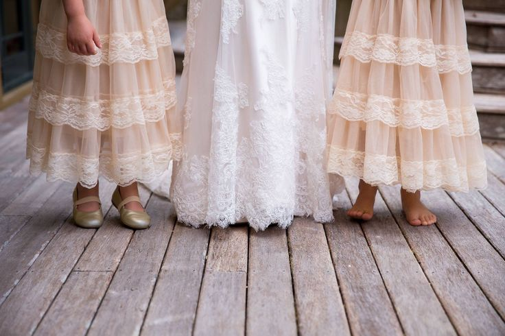 Lace flower girl and wedding dress