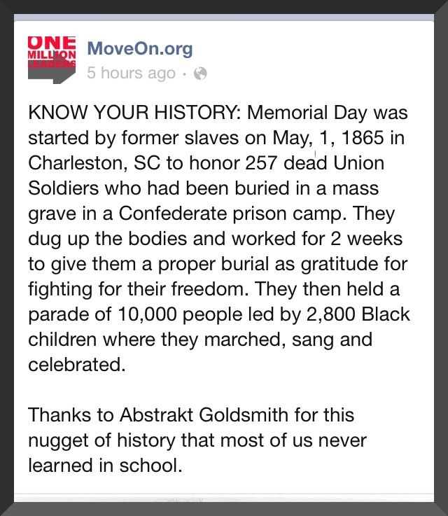 Memorial Day-check with Wikipedia it's there but with reservations