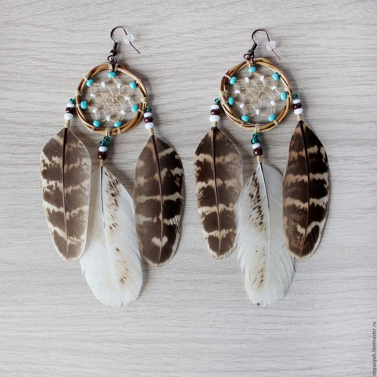 Купить Серьги Ловцы снов ОТЛОЖЕНЫ - бежевый, коричневый, серьги, украшение, бохо, бохо-стиль