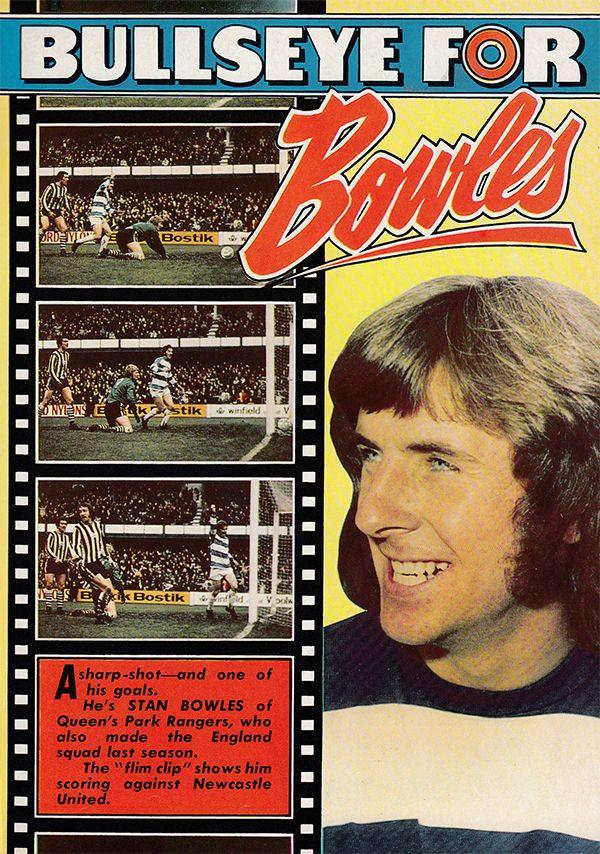 22nd December 1973. Queens Park Rangers inside forward Stan Bowles scoring a last minute winner against Newcastle United a 5 goal thriller, at Loftus Road.