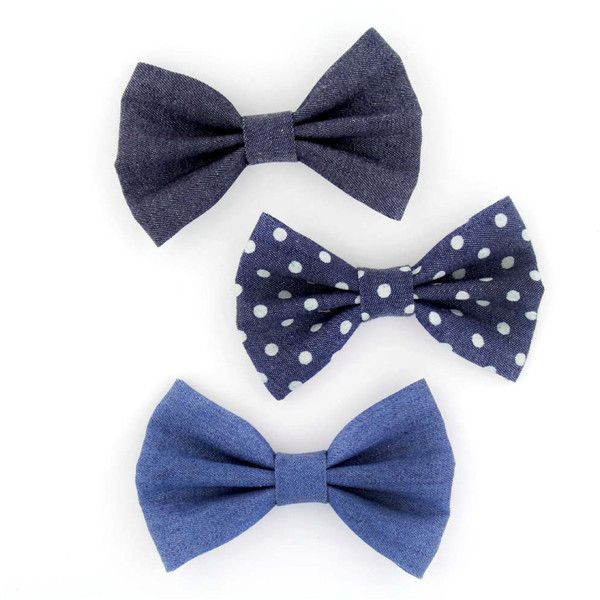 Denim Hair Bow With Clip Large 4 Denim Bow Sailor Bow Jean Bow Tuxedo... (16 PLN) ❤ liked on Polyvore featuring accessories, hair accessories, bows, grey, hair bows and bow hair accessories
