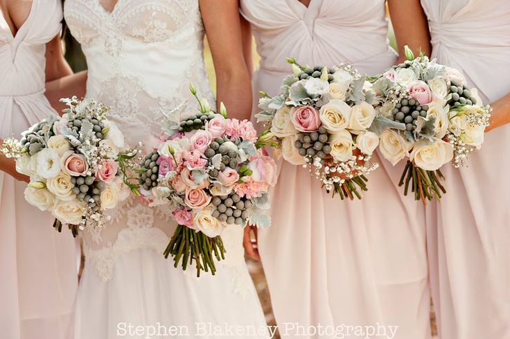 Rose, carnation, lisianthus, brunia berry and Dusty Miller bouquets by Scentiment Flowers, pic by Blakeney Photography