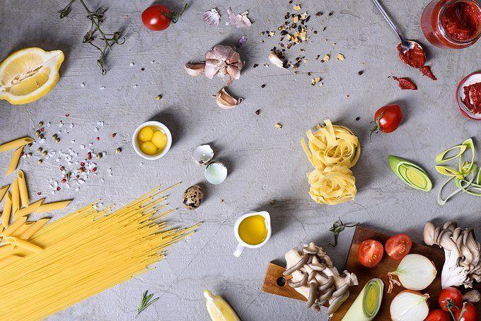 Italian pasta with ingredients by Iuliia Leonova on @creativemarket