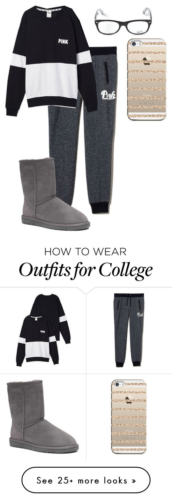 """Outfit #840"" by mbvs on Polyvore featuring Victoria's Secret, UGG Australia, Ray-Ban and Casetify"