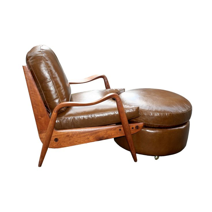 Beautiful Phillip Lloyd Powell Lounge Chair And Round Ottoman C. 1960   Todd Merrill