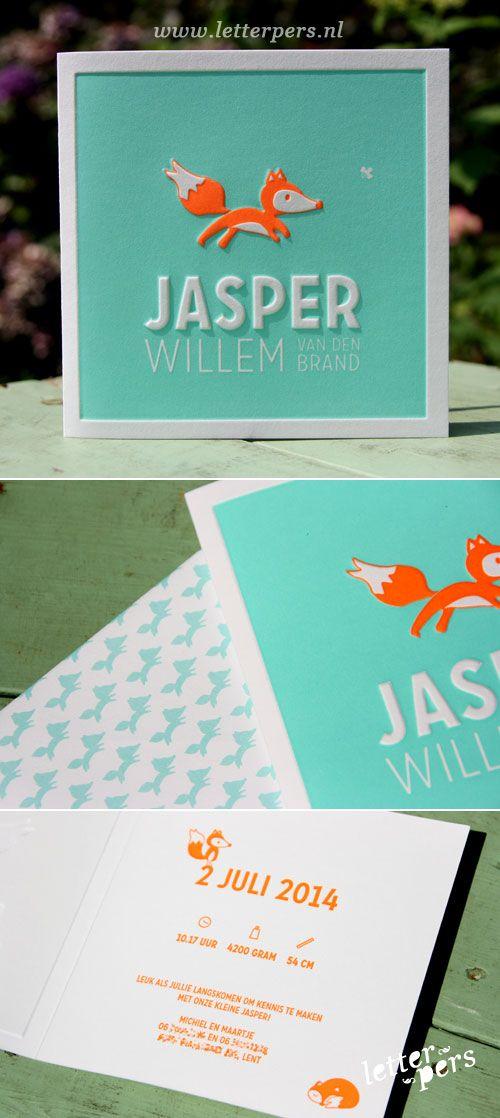 letterpers_letterpress_geboortekaartje_Jasper_vos_fluor_neon_oranje_mint_groen_relief_preeg