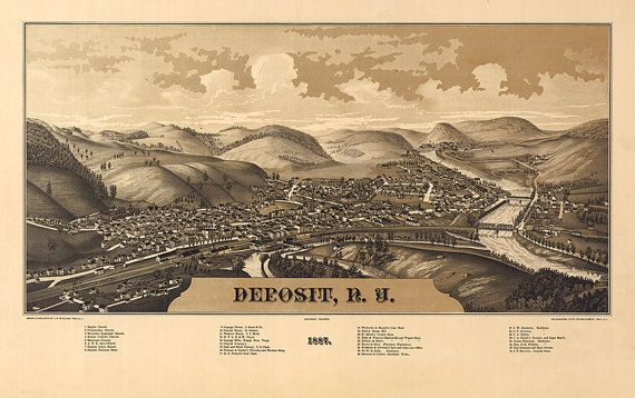 Deposit, New York : 1887.  Burleigh, L. R. Delaware County.  Reproduction Vintage Bird's Eye View map Print. NY0183