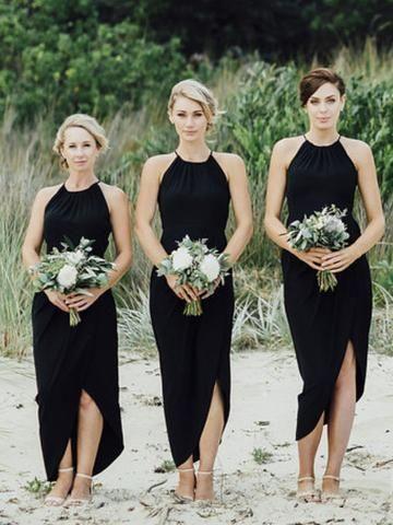 Simple Black Side Slit Short Brautjungfernkleider, Günstige Unique Sequin Long Brides …   – Bridesmaid Dresses