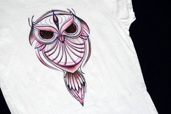 Owl  hand-painted technical drawing t-shirt