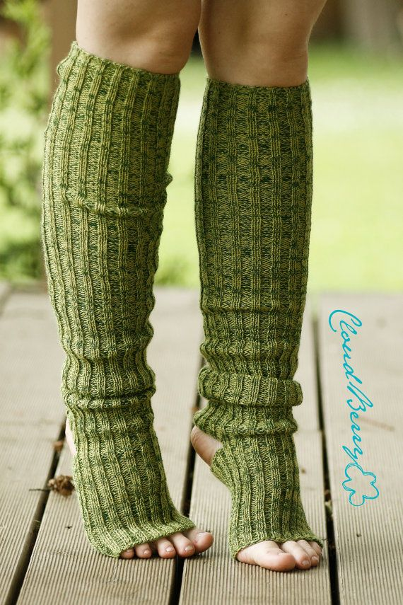 Yoga socks / dance socks / leg warmers / boot socks - Green knitted comfortable warm colorful Accessories Women europeanstreetteam