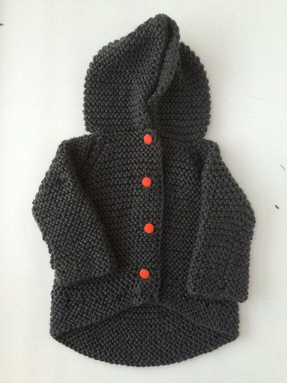 Chunky knit gray super soft merino baby jacket. by bazzooka