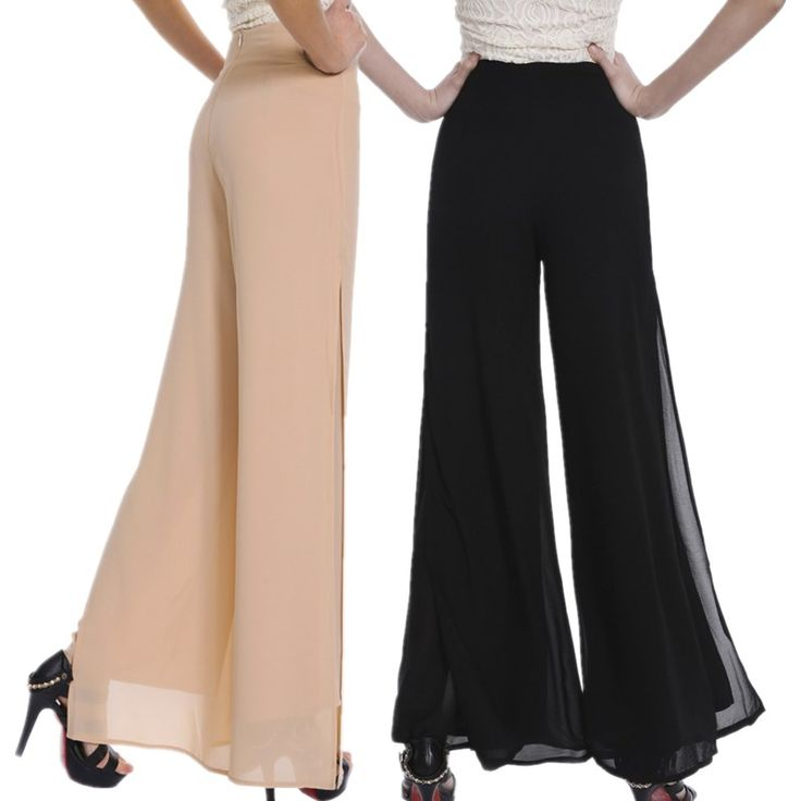Cheap pants trousers, Buy Quality trousers grey directly from China trouser length Suppliers: Women Ladies Vintage Loose High Waist Long Trousers Chiffon Side Split Casual Palazzo Pants Wide Leg Pants pantalones