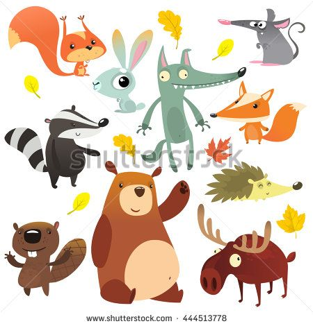Cartoon forest animal characters. Wild cartoon cute animals collections vector. Big set of cartoon forest animals flat vector illustration.  Squirrel, mouse, badger, wolf, fox, beaver, bear, moose