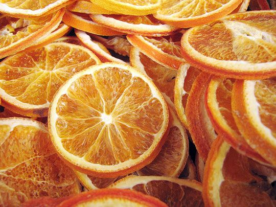 Dried citrus slices- To make orange, lemon, or other citrus slices, cut the fruits very thin and dry them in a dehydrator or in the oven at the lowest setting. Store in an airtight container and add the slices to water, iced tea, or hot tea.