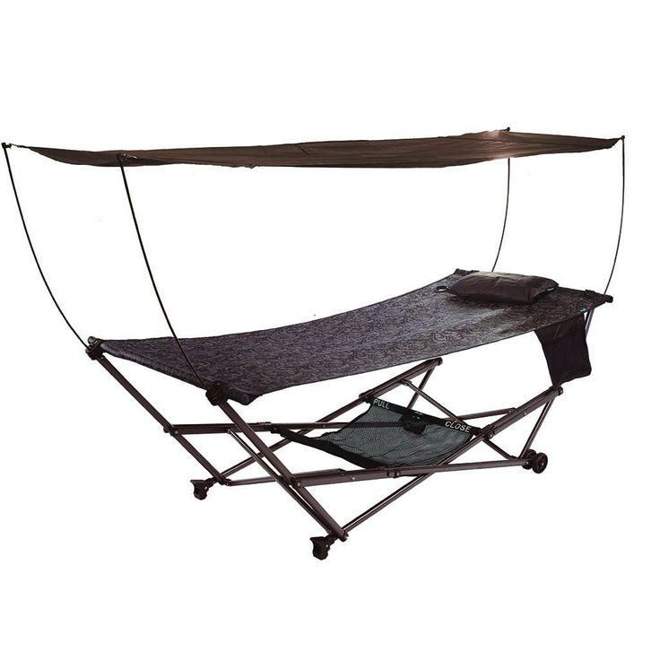 STOW-EZ Portable Hammock + Stand with Canopy: Brown: Bliss Hammocks
