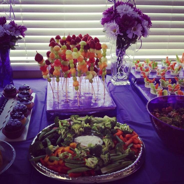 Beach Wedding Food Ideas: Purple Party Food, Decor, Fruit Kabob, Veggie Tray, Veggie