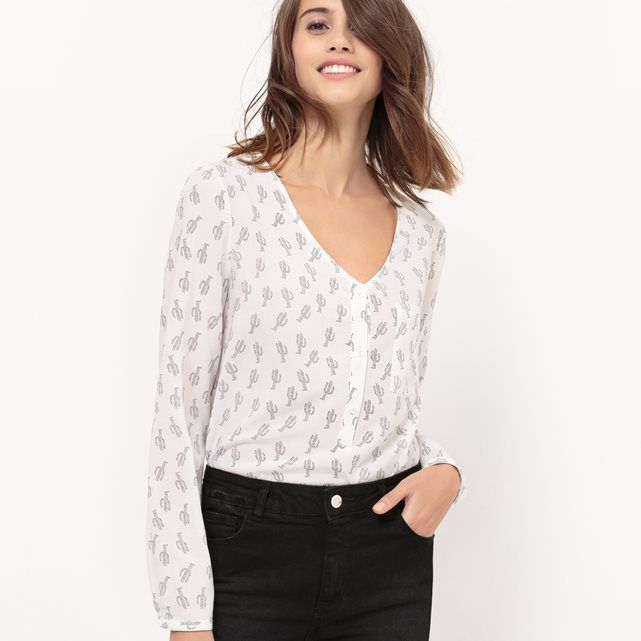 Image Softly Draping Cactus Print Blouse R édition