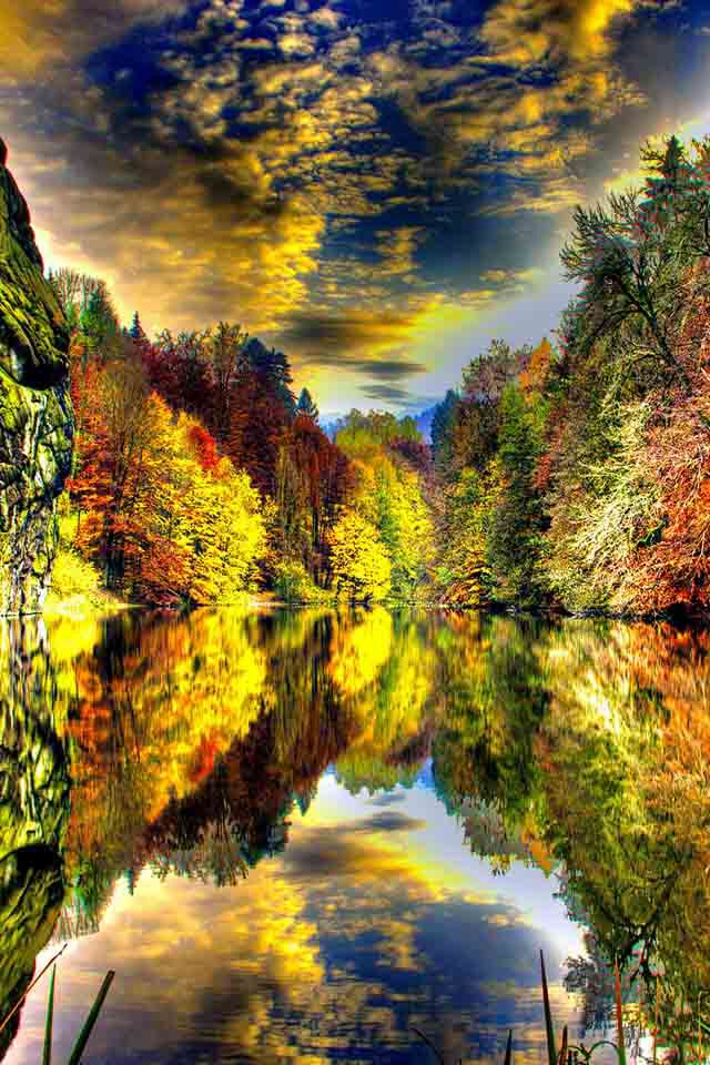 Fall reflections An incredible Autumn Nature Reflection to behold.  Truly Awesome!