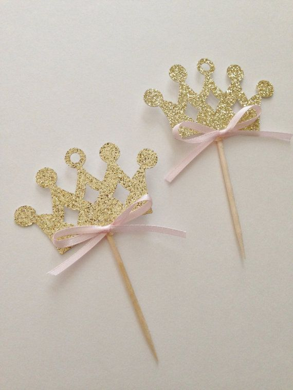 Princess Crown Cupcake Toppers ~Pink and Gold Princess First Birthday~ Princess Party ~ First Birthday Pink and Gold