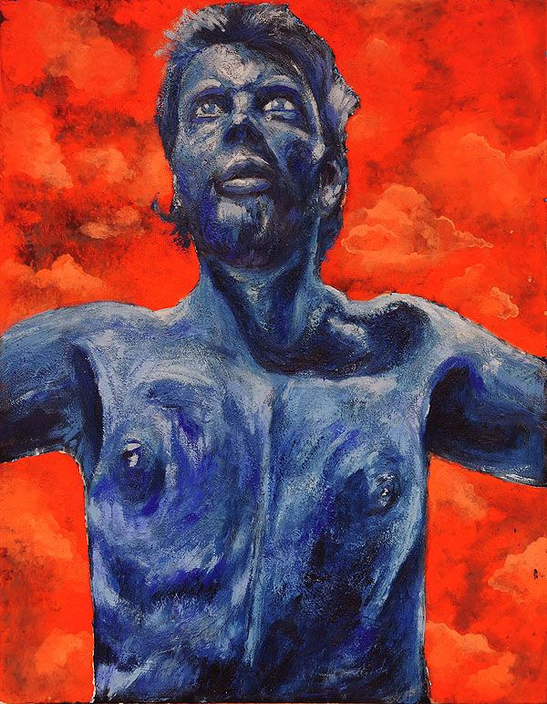 Titel: zelfportret Blue-orange / Techniek: Encaustiek en tempera grassa