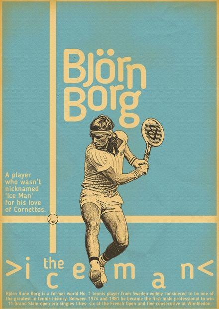 10 icônes du tennis en affiches vintage signées Zoran Lucic : Borg