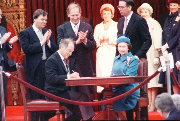 Prime Minister Pierre Trudeau and Queen Elizabeth the second repatriate the constitution of Canada.