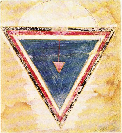 Sakti Yantra. The three sides of the yoni, the primordial triangle, creative matrix of the cosmos, stand for the three qualities composing material nature: sattva, the ascending quality, seen as white; rajas, the kinetic quality, seen as red; tamas, the descending quality or inertia, seen as black. Rajasthan, c. 17th century
