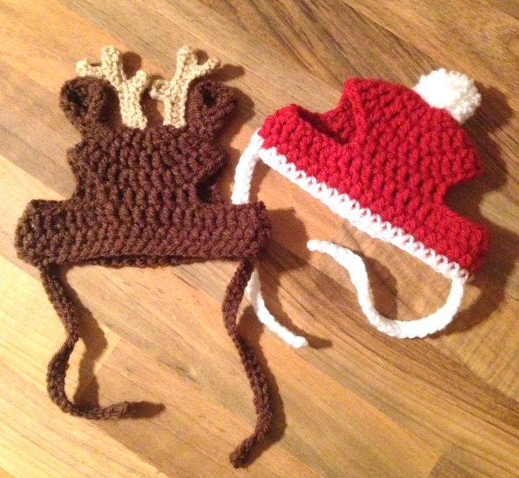 Crochet Pattern - PDF Download // Cat or Small Dog Christmas Beanie Hats. IDEA