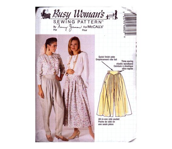 Genuine Vintage 1990 Busy Woman's Unusual High Waisted Panelled Cullote Trousers and Skirt Sewing Pattern by Nancy Zieman