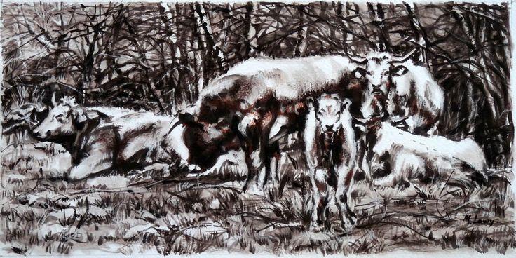 Le troupeau, Anost, lavis d'encre, Monique Lowy.
