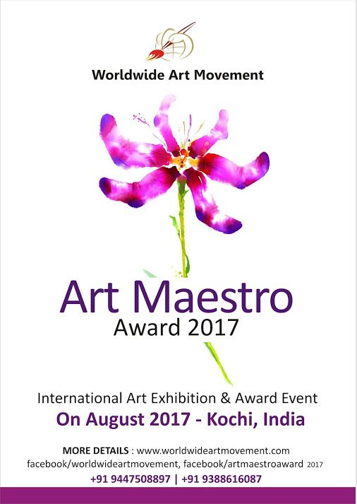 "We are conducting an event named   ""ART MAESTRO AWARD 2017"" We are inviting entries (Drawing, Painting, Print Making & Sculpture)  from artists who like to join the event.  The best entry will select for ART MAESTRO AWARD (Rs. 25,001+Memento+Certificate),  P.J. Paul Memorial Sculpture Award (Rs. 5,001+Memento+Certificate) and Best 10 entries will select for HONORABLE MENTION AWARD (Rs. 2000/- +Memento+Certificate).  All participants will get participation certificate.  The brochure w..."