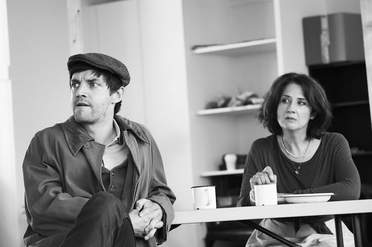 Emmet Kirwan as Snobby Price and Ali White as Rummy Mitchens in rehearsals for The Abbey Theatre- The National theatre of Irelands production of Major Barbara