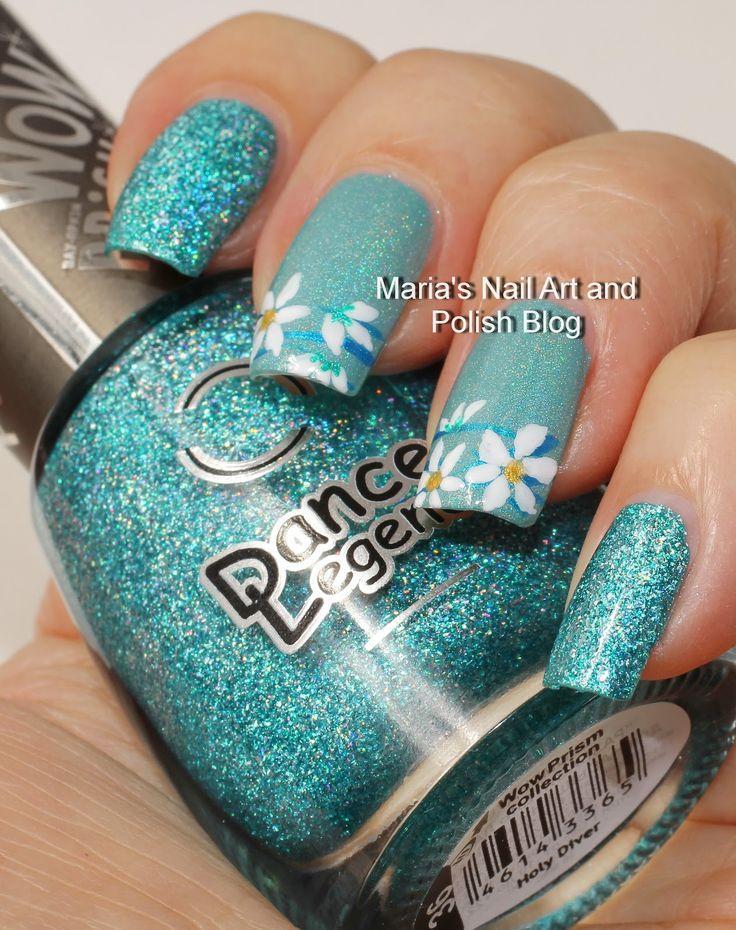 Floral French music box nail art