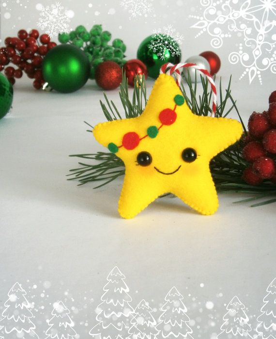 Christmas ornament felt Christmas ornaments cute felt decoration Christmas Star…