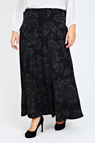 Black & Grey Floral Jersey Maxi Skirt With Abstract Panel Detail