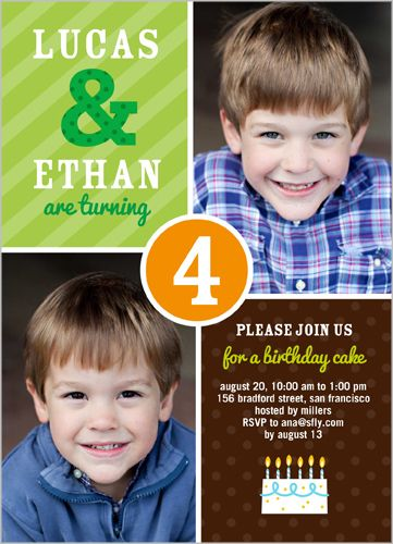 35 best twin birthday invitations images on pinterest twin party patterns photo invitation card by shutterfly double the fun with this twin birthday invitation stopboris Images