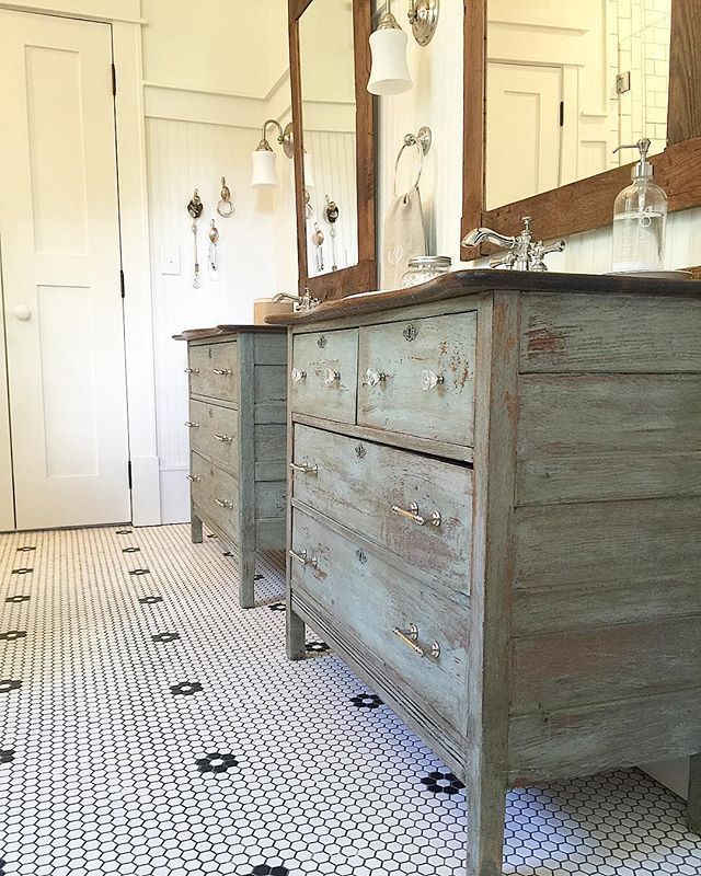 Rustic bathroom vanities - love the chippy blue color eclecticallyvintage.com