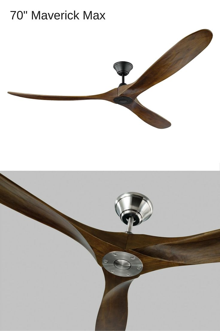 "With a sleek, modern silhouette and a DC motor, the highly energy efficient 70"" Maverick Max ceiling fan by Monte Carlo features softly rounded hand-carved balsa wood blades, creating an elegantly simple housing. ENERGY STAR-qualified, this fan is also damp-rated for outdoor use in a covered area. Available in two finishes."