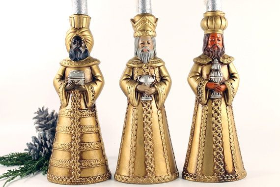 Vintage Three Wise Men Candle Holders 3 Kings by Circa810 on Etsy, $20.00
